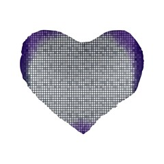 Purple Square Frame With Mosaic Pattern Standard 16  Premium Heart Shape Cushions
