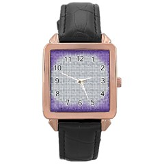 Purple Square Frame With Mosaic Pattern Rose Gold Leather Watch