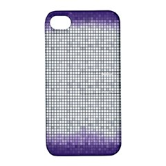 Purple Square Frame With Mosaic Pattern Apple Iphone 4/4s Hardshell Case With Stand