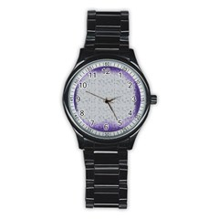 Purple Square Frame With Mosaic Pattern Stainless Steel Round Watch