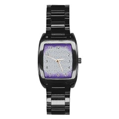 Purple Square Frame With Mosaic Pattern Stainless Steel Barrel Watch