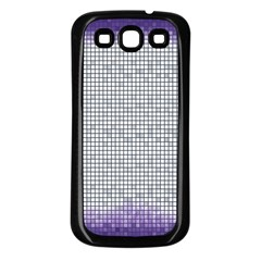 Purple Square Frame With Mosaic Pattern Samsung Galaxy S3 Back Case (Black)