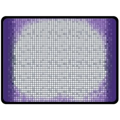 Purple Square Frame With Mosaic Pattern Double Sided Fleece Blanket (Large)