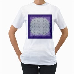 Purple Square Frame With Mosaic Pattern Women s T-Shirt (White)