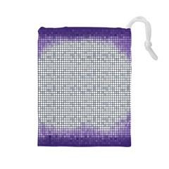 Purple Square Frame With Mosaic Pattern Drawstring Pouches (large)