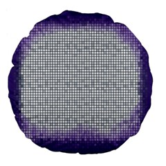 Purple Square Frame With Mosaic Pattern Large 18  Premium Flano Round Cushions