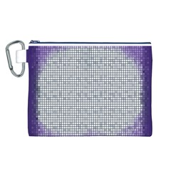 Purple Square Frame With Mosaic Pattern Canvas Cosmetic Bag (L)