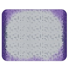 Purple Square Frame With Mosaic Pattern Double Sided Flano Blanket (Medium)