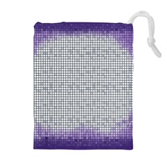 Purple Square Frame With Mosaic Pattern Drawstring Pouches (Extra Large)