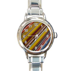 Colourful Lines Round Italian Charm Watch