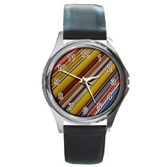 Colourful Lines Round Metal Watch