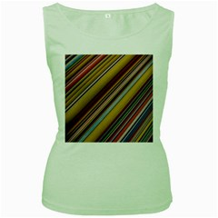 Colourful Lines Women s Green Tank Top