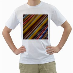 Colourful Lines Men s T Shirt (white) (two Sided)