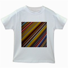 Colourful Lines Kids White T Shirts