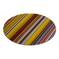 Colourful Lines Oval Magnet
