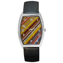 Colourful Lines Barrel Style Metal Watch