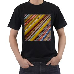 Colourful Lines Men s T-Shirt (Black) (Two Sided)