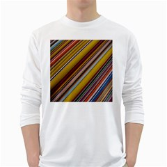 Colourful Lines White Long Sleeve T Shirts