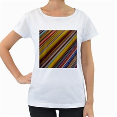 Colourful Lines Women s Loose-Fit T-Shirt (White)