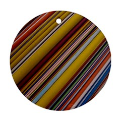 Colourful Lines Round Ornament (two Sides)
