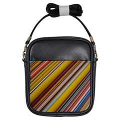 Colourful Lines Girls Sling Bags