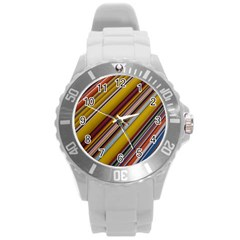 Colourful Lines Round Plastic Sport Watch (l)