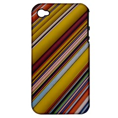 Colourful Lines Apple Iphone 4/4s Hardshell Case (pc+silicone)