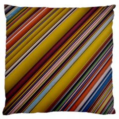 Colourful Lines Large Flano Cushion Case (One Side)