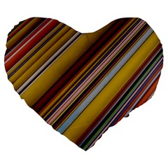 Colourful Lines Large 19  Premium Flano Heart Shape Cushions