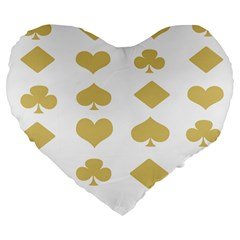 Card Symbols Large 19  Premium Flano Heart Shape Cushions