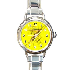 Fractal Color Parallel Lines On Gold Background Round Italian Charm Watch