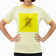 Fractal Color Parallel Lines On Gold Background Women s Fitted Ringer T-Shirts