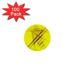 Fractal Color Parallel Lines On Gold Background 1  Mini Buttons (100 Pack)