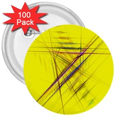 Fractal Color Parallel Lines On Gold Background 3  Buttons (100 Pack)