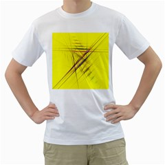 Fractal Color Parallel Lines On Gold Background Men s T-Shirt (White) (Two Sided)