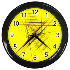Fractal Color Parallel Lines On Gold Background Wall Clocks (Black)