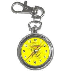 Fractal Color Parallel Lines On Gold Background Key Chain Watches