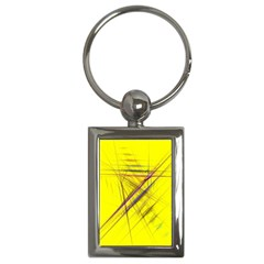 Fractal Color Parallel Lines On Gold Background Key Chains (Rectangle)