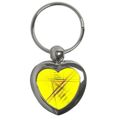 Fractal Color Parallel Lines On Gold Background Key Chains (Heart)