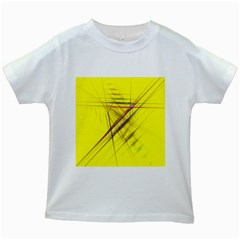 Fractal Color Parallel Lines On Gold Background Kids White T Shirts