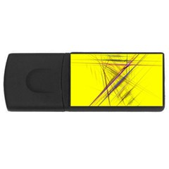 Fractal Color Parallel Lines On Gold Background USB Flash Drive Rectangular (2 GB)