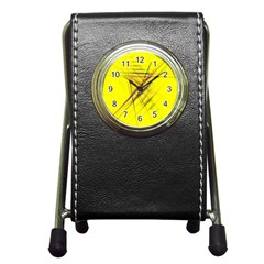 Fractal Color Parallel Lines On Gold Background Pen Holder Desk Clocks