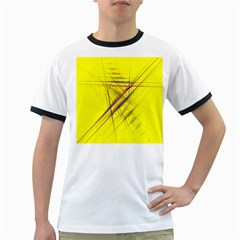 Fractal Color Parallel Lines On Gold Background Ringer T Shirts