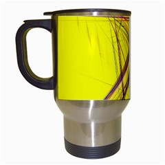 Fractal Color Parallel Lines On Gold Background Travel Mugs (White)