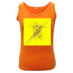 Fractal Color Parallel Lines On Gold Background Women s Dark Tank Top