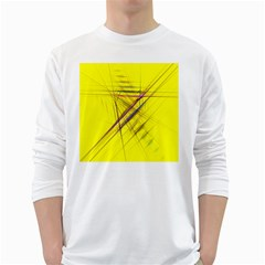 Fractal Color Parallel Lines On Gold Background White Long Sleeve T-Shirts