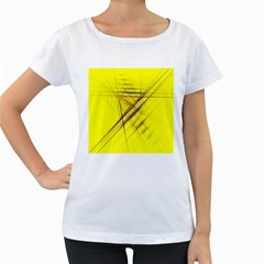 Fractal Color Parallel Lines On Gold Background Women s Loose-Fit T-Shirt (White)