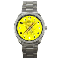 Fractal Color Parallel Lines On Gold Background Sport Metal Watch
