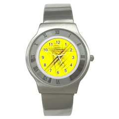 Fractal Color Parallel Lines On Gold Background Stainless Steel Watch
