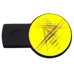 Fractal Color Parallel Lines On Gold Background USB Flash Drive Round (4 GB)